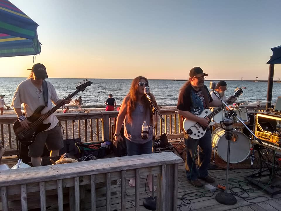 Second Hand Dogs at the 3rd Thursday Music, Flowers and a Sunset in Vermilion Ohio. 19 July 2018